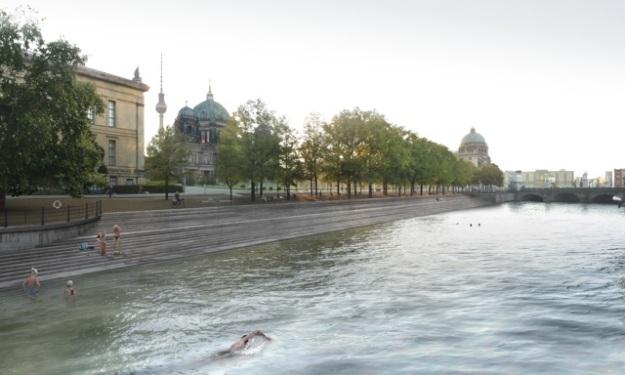 Flussbad am Lustgarten 2020: Zwischen Schlossplatz und Bodemuseum ist der Spreekanal auf 750 m Länge natürliches Schwimmbad ©2011realities:united